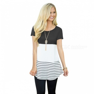 Women's Round Neck Short Sleeves Stripe Splicing Top Back Stitching Lace T-shirt - Black (M)
