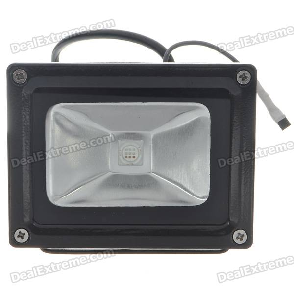 10W RGB Color-Changing Flood Light/Projection Lamp with Remote Controller - Black (85~265V) zhishunjia ip66 10w 900lm led 7 color project light w remote controller grey black 85 265v