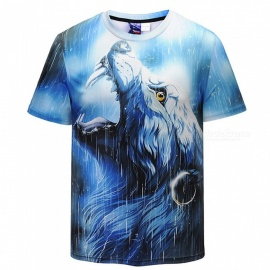 3D Starry Wolf Pattern Fashion Short-Sleeved T-Shirt for Men (S)