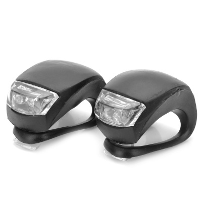 2-LED 3-Mode White + Red Light Fog Bicycle Lights - Black (2 PCS)