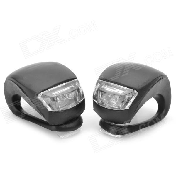 2-LED 3-Mode White + Red Light Fog Bicycle Lights - Black (2 PCS) [фото2]
