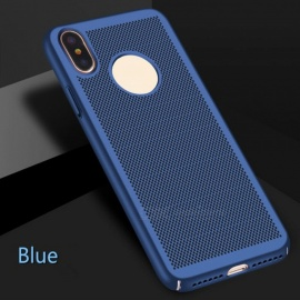 "Ultra-Thin Grid Cooling Hollow Plastic Case Cover for IPHONE X 5.8"" - Sapphire Blue"