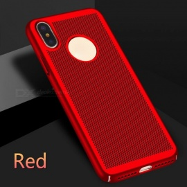 "Ultra-Thin Grid Cooling Hollow Plastic Case Cover for IPHONE X 5.8"" - Red"