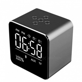 ESAMACT V9 Mini Wireless Metal Bluetooth Speaker Alarm Clock - Black