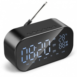 ESAMACT Mini Clock USB Bluetooth Speaker, Portable Wireless Loudspeaker Stereo Speaker, Support Time Temperature Display