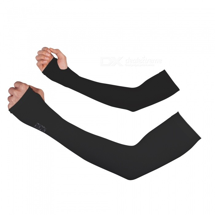 PE09 Unisex Summer Sports Ice Silk Sun UV Protection Arm Sleeves for Men Women - Black