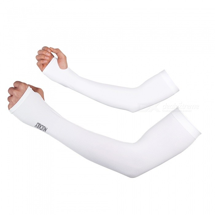 PE09 Unisex Summer Sports Ice Silk Sun UV Protection Arm Sleeves for Men Women - White