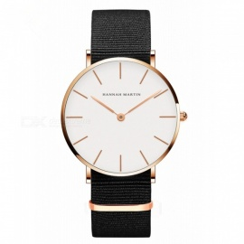Hannah Martin CB01 Unisex Ultra-thin Quartz Analog Waterproof Nylon Strap Wrist Watch - Black + Golden