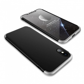 Detachable Protective Plastic Full Body Case Cover for IPHONE X - Black + Grey