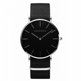 Hannah Martin CH02 Unisex Ultra-thin Japanese Movement 30m Waterproof Nylon Strap Wrist Watch - Black + Silver