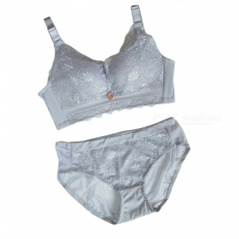 ESAMACT Lace Silk + Nylon Sexy Comfortable Steel-Free Gather Bra with Underwear Set - Silver (85B)