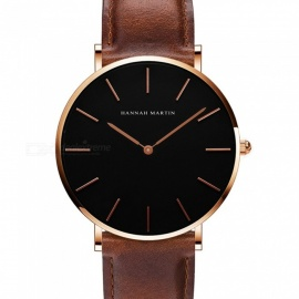 Hannah Martin CH02 Unisex Ultra-thin Japanese Movement 30m Waterproof PU Leather Strap Wrist Watch - Brown + Golden