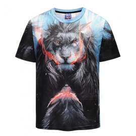 3D Angry Lions Pattern Fashion Short-Sleeved T-Shirt for Men (M)