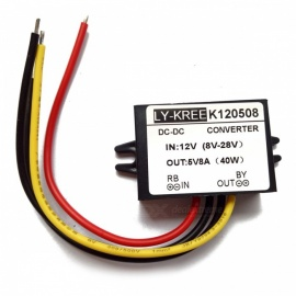 LY-KREE DC-DC 12V(8V-28V) to 5V 8A 40W Buck Module Power Converter
