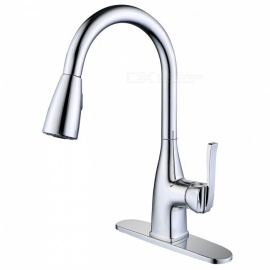 Contemporary Stainless Steel Pull-out / ­Pull-down Chrome Ceramic Valve One Hole, Kitchen Sink Faucet w/ Single Handle
