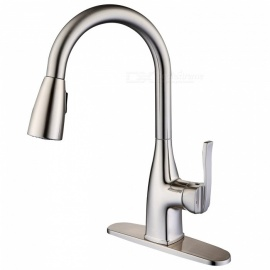 Contemporary Stainless Steel Pull-out / ­Pull-down Brushed Ceramic Valve One Hole, Kitchen Sink Faucet w/ Single Handle