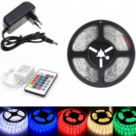 SENCART 5m Waterproof 30W 150-SMD RGB LED Light Strip w/ Remote Control, EU Adapter