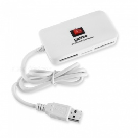Durable Portable All-in-one 3-Port USB Hub w/ Card Reader - White