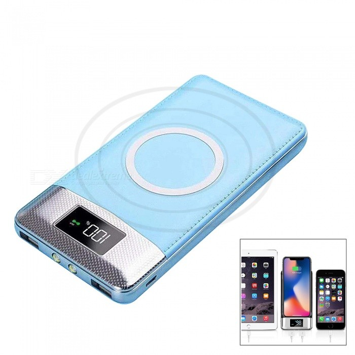 f08b47541661be LCD Portable 10000mAh Power Bank Qi Wireless Charger with Dual USB for  IPHONE X / 8 /8 Plus / Samsung / LG / Xiaomi - Blue - Free Shipping -  DealExtreme