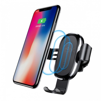 Baseus 10W QI Wireless Fast Charge Charger Car Mount Holder for IPHONE X Plus Samsung S8 S9 - Black