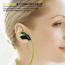 QKZ G6 Sports Wireless Bluetooth V4.0 Headset Stereo Earphones with Microphone - Green
