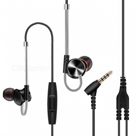 QKZ DM10 CNC HiFi In-Ear Earphones with Microphone - Black