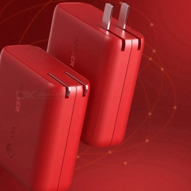 Anker 2-in-1 AC Wall Charger + 5000mAh Power Bank Portable External Battery for Cell Phones - Red