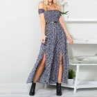 Sexy Floral Pattern Off-the-Shoulder Chest Wrapped Short-Sleeved Side Slit Long Dress for Women - Blue (L)