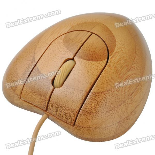 Stylish Bamboo 800DPI USB Optical Mouse - Coffee (150CM-Cable)
