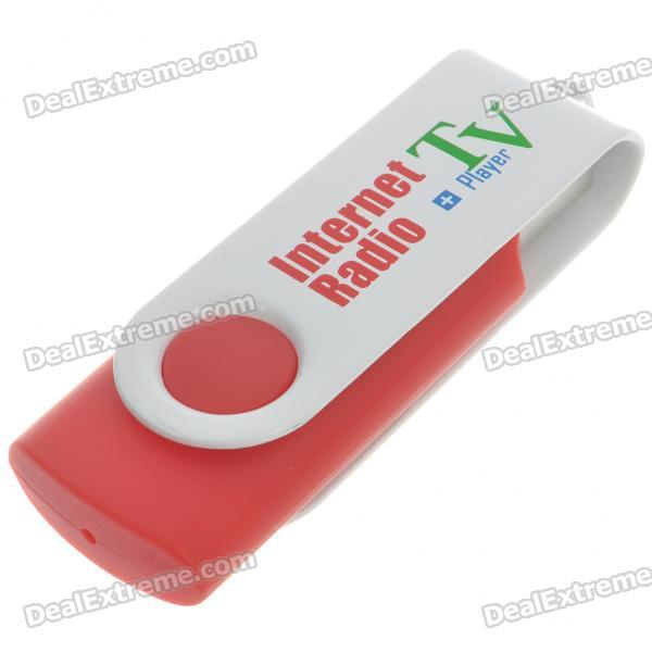 Compact USB Worldwide Internet TV/Radio/Games/MTV/VOD Stations Player Dongle (White + Red)