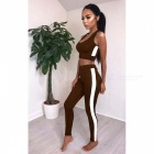 Women's Sports Vest Sleeveless Top + Trousers Pants Clothes Clothing Set Sportswear - Brown (XL)