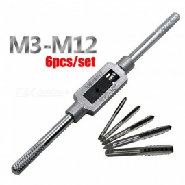 ZHAOYAO 6PCS 3F Hand Screw Thread Metric Plug Tap Set M3 M4 M5 M6 M8 with Adjustable Tap Wrench