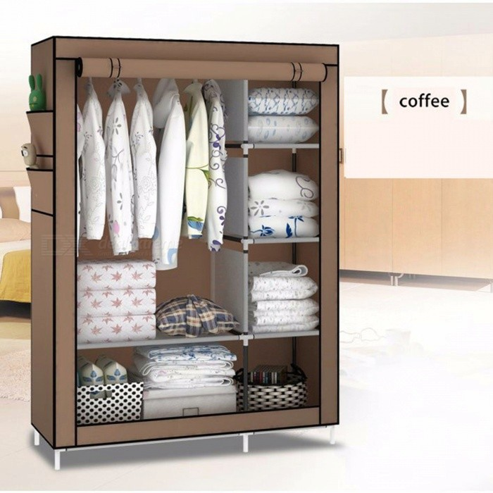Diy Simple Non Woven Fabric Steel Folding Portable Clothes Storage Cabinet Wardrobe Coffee Free Shipping Dealextreme