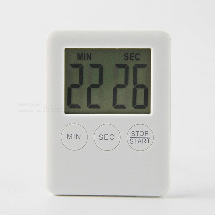 Square Large LCD Digital Kitchen Cooking Timer, Magnetic Digital Table  Alarm Clock   White
