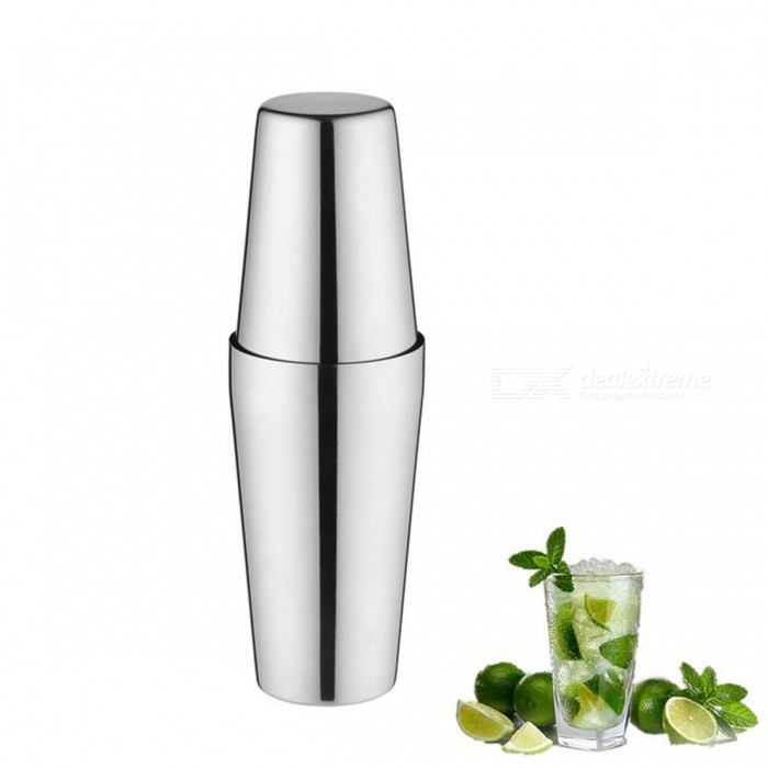 Boston Cocktail Shakers Martini Bar Cocktail Shaker Stainless Steel Flair Mixing Tin Set Party Bar Tool - Silver