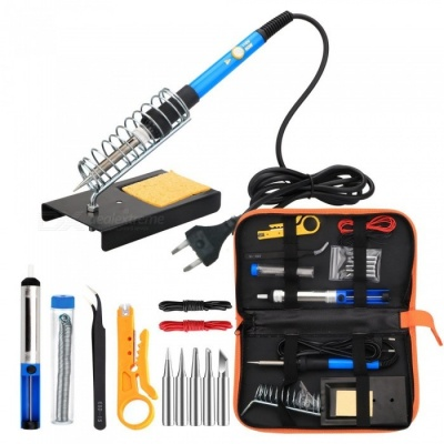 ESAMACT EU Plug Electronic 60W Soldering Iron Tool Kit with 5pcs Soldering Tips, Desoldering Pump, Soldering Iron Stand