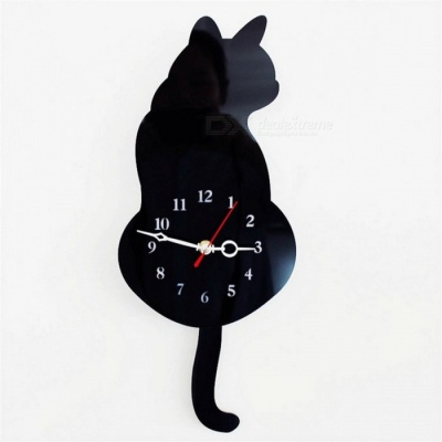 Creative Cute Wagging Tail Cat Style Wall Clock Household Decoration - Black