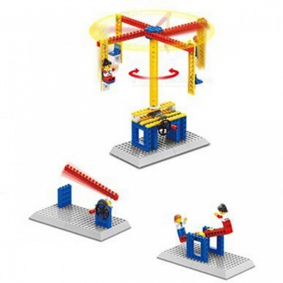 1301 3 In 1 76pcs Mechanical Small Building Blocks Carousel Model Collection Educational Toys for Children
