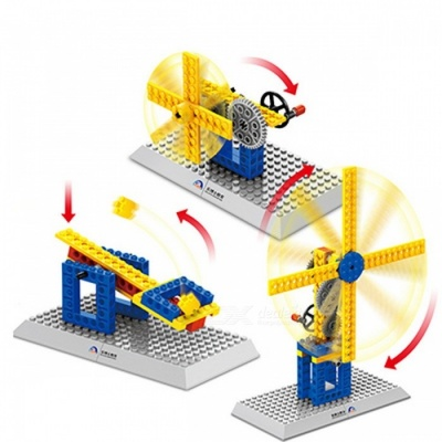1302 3 In 1 50pcs Kids Mechanical Building Blocks Windmill Model Collection MOC Brick Educational Toys for Children Gift
