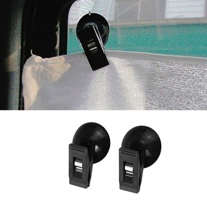 Car Interior Window Mount Black Suction Cup Clip Plastic Removable Holder For Sunshade Curtain Towel Ticket