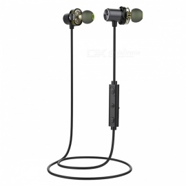 AWEI X650BL Sport Wireless Bluetooth Magnetic In-Ear Dual Driver Dual Speaker Earphone with Microphone - Gray