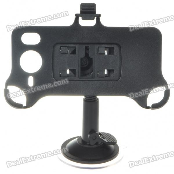 Plastic Car Swivel Mount Holder with Suction Cup & Car Charger for HTC HD7 - Black