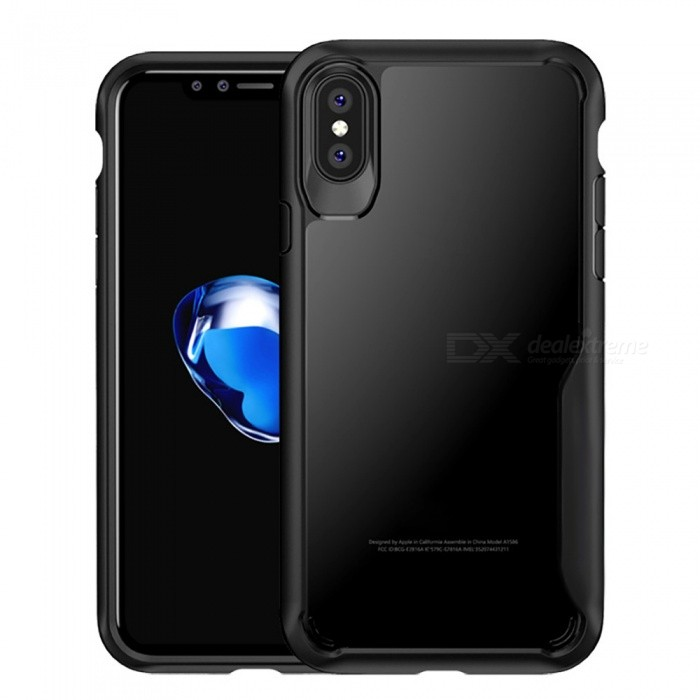 huge selection of 7daf9 fd390 HD Clear Reinforced Corners TPU Bumper Cushion + Hybrid Rugged Transparent  Panel Cover for IPHONE X - Black