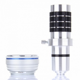 12X Metal Long Focus Wide Angle Macro Lens with Tripod HD Outdoor Photography Accessories - Silver