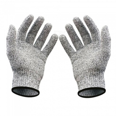 Kitchen Industry Grade 5 HPPE Wear Resistant and Anti-Cutting Gloves - White + Gray + Black