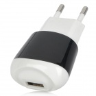 EU Type USB Power Adapter/Charger for iPad/iPhone 4 - Black + White (110~240V)