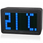 Blue LED Backlit Digital Clock with Calendar/Temperature/Alarm (4*AA)
