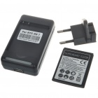 US Plug Battery Charger + EU Plug Power Adapter + 3.7V 1300mAh Battery Set for HTC HD3/HD7