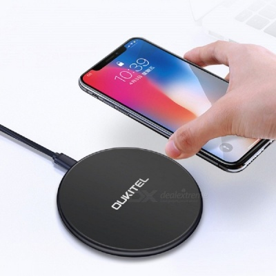 OUKITEL S1 10W Ultra-thin Wireless Charger Fast Charging Pad for IPHONE X / 8 / 8 Plus, Samsung S8 - Black