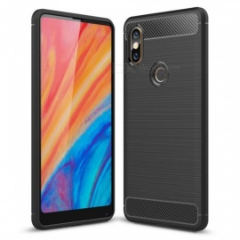 Naxtop Wire Drawing Carbon Fiber Textured TPU Brushed Finish Soft Phone Back Cover Case For Xiaomi Mi Mix 2s